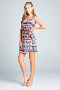 V-NECK SLEEVELESS PRINT DRESS WITH WAIST TIE