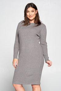GRAY RIBBED KNIT BODYCON DRESS - PLUS SIZE