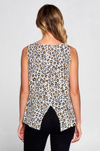 LEOPARD PRINT SLEEVELESS TOP WITH BACK SLIT
