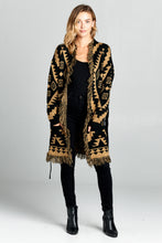 PRINT THICK KNIT CARDIGAN WITH WAIST TIE