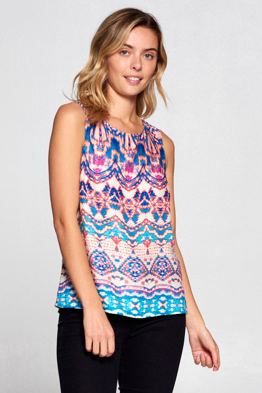 CORAL SLEEVELESS TOP WITH BACK SLIT