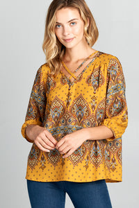 PRINT V-NECK BLOUSE