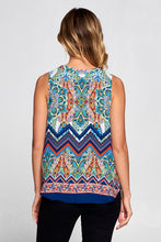 Multi Color Border Print Sleeveless Top