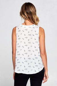 EIFFEL TOWER PRINT SLEEVELESS TOP