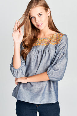 Denim Blue Top with Lace Embroidered Detail