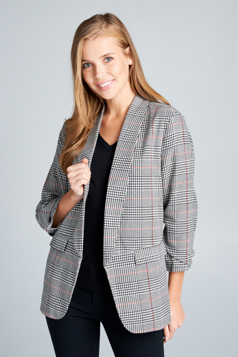 OVER SIZED CHECK BLAZER WITH POCKETS