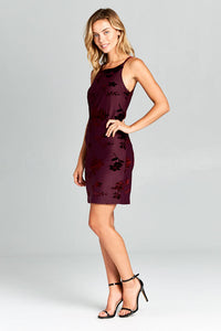 CRUSHED VELVET RACER BACK MINI DRESS