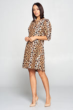 LEOPARD PRINT SWING DRESS WITH PUFF SLEEVE