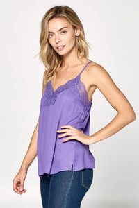 Spaghetti Strap Top With Lace Knit Detail