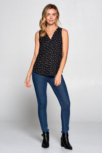 3/4 SLEEVE V-NECK PRINT TOP