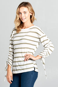 LONG SLEEVE STRIPED TOP WITH SCRUNCHED SLEEVES