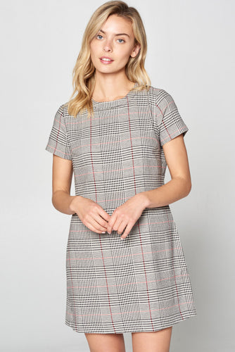 PLAID SCOOP NECK MINI DRESS