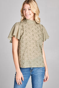SHORTSLEEVE TURTLE NECK TOP