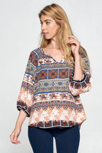 Taupe Print 3/4 Sleeve Top