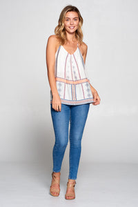 Boho Border Print V-neck Top