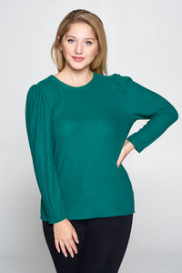 SOFT GREEN SCOOP NECK PUFF SLEEVE TOP - PLUS SIZE