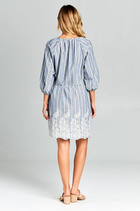 3/4 SLEEVE STRIPED WAIST TIE DRESS WITH BOTTOM EMBROIDERY
