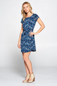 Linear Print Dress with Tie
