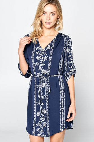 3/4 SLEEVE V-NECK PRINT DRESS WITH WAIST TIE