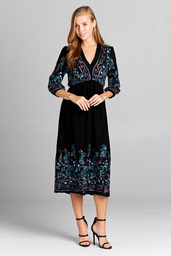 EMBROIDERED LONG SLEEVE MAXI DRESS