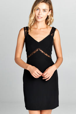 Black Bodycon Dress With Lace Detail