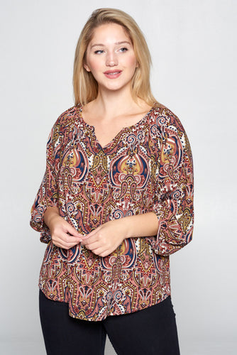 MULTI COLOR PAISLEY PRINT V-NECK TOP - PLUS SIZE