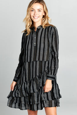 LONG SLEEVE STRIPED RUFFLE BOTTOM DRESS