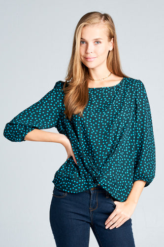 3/4 SLEEVE POLKA DOT TOP WITH A KNOT DETAIL
