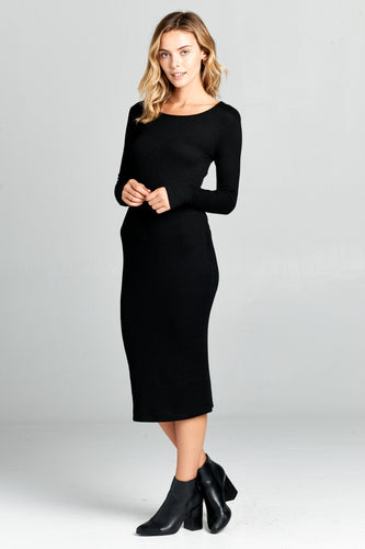 LONG SLEEVE BODYCON MAXI DRESS