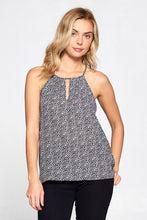 Black and White Print Top with Keyhole