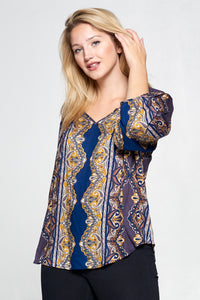 PRINT LONG SLEEVE NOTCH NECK TOP - PLUS SIZE