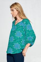 Green Paisley Print V-neck Top