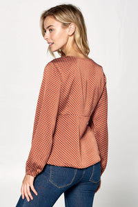 Polka Dot V-neck Long Sleeve Top