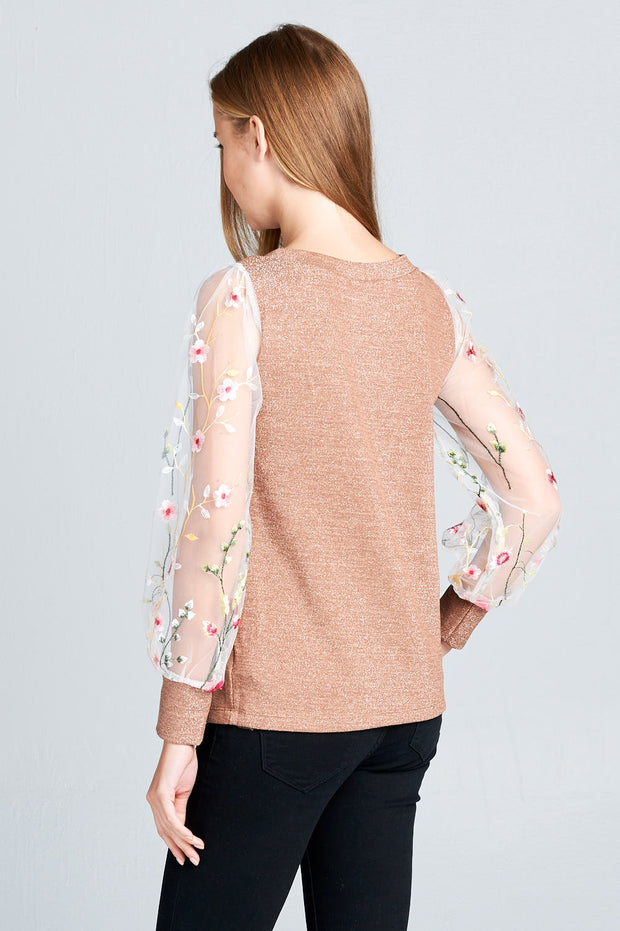Long Sleeve Top with Sheer Embroidered Cuffed Puff Sleeve