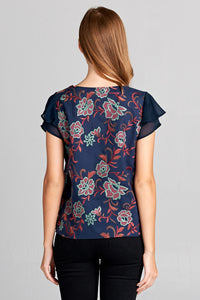 SHORT SLEEVE FLORAL EMBROIDERY TOP WITH RUFFLE SLEEVES