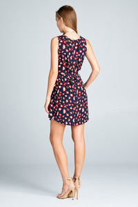 SLEEVELESS LEAPORD PRINT DRESS WITH WAIST TIE