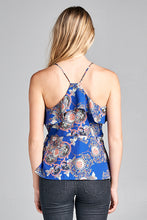 PAISLEY PRINT TANK TOP WITH RUFFLE DETAILS