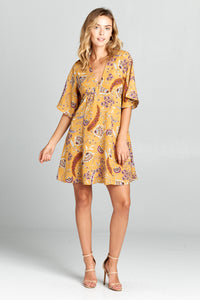 SHORT SLEEVE V-NECK PRINTED DRESS