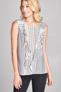 SLEEVELESS ROUND NECK STRIPED TOP WITH RUFFLE DETAILS