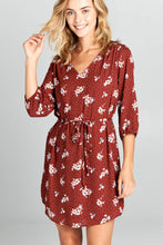 Rust Floral Print Dress with Tie