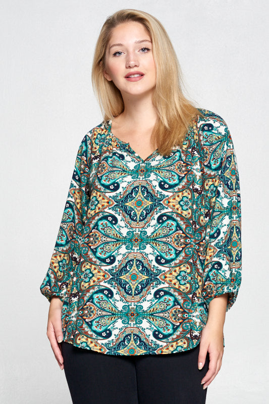 Green Paisley Print Notch Neck Top