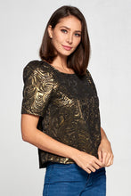 METALLIC GOLD TEXTURED TOP WITH PUFF SLEEVE