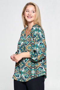GREEN PAISLEY PRINT NOTCH NECK TOP - PLUS SIZE