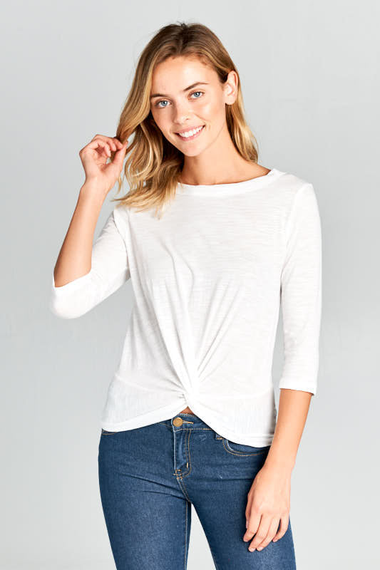 3/4 SLEEVE FRONT KNOT TOP