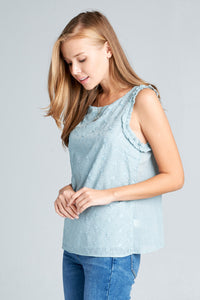 TEXTURED SLEEVELESS TOP WITH RUFFLE DETAIL