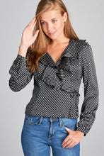 LONGSLEEVE WRAP TOP WITH RUFFLE NECKLINE