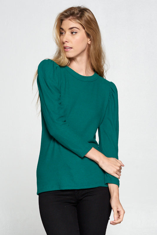 EXTRA SOFT GREEN SCOOP NECK PUFF SLEEVE TOP