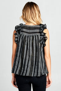 SLEEVELESS RUFFLE STRIPED TOP