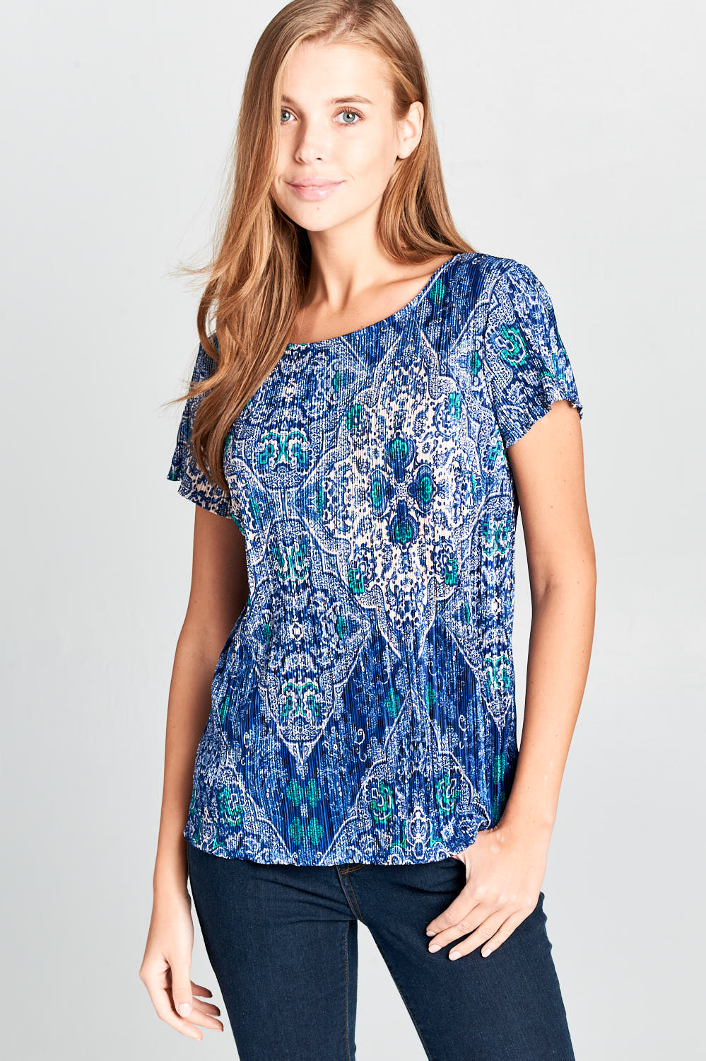 PRINT SHORT SLEEVE RIBBED TOP