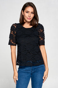 SHORT SLEEVE V-NECK TOP WITH BORDER PRINT SHEER TOP